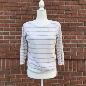 J Crew Knit Sweater - white/beige striped Size M